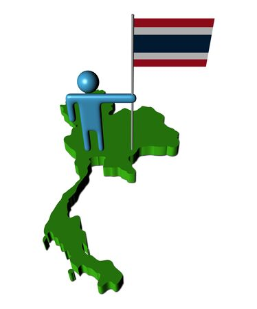 abstract person with Thai flag on map illustration illustration