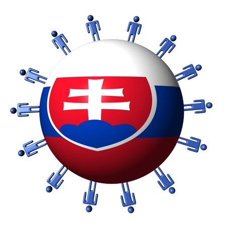 slovakian: circle of abstract people around Slovakian flag sphere illustration