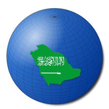 Saudi Arabia map flag on abstract globe illustration Stock Illustration - 6856849