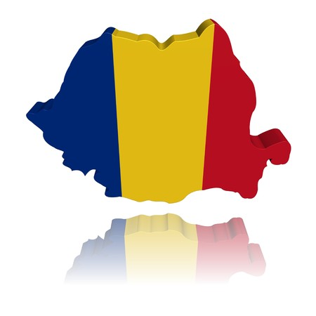 romania: Romania map flag 3d render with reflection illustration