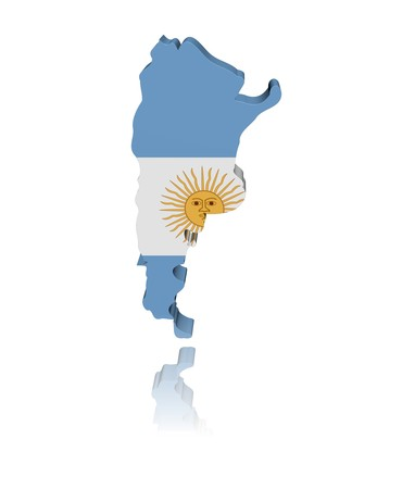 argentina: Argentina map flag with reflection illustration