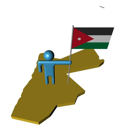 abstract person with Jordanian flag on map illustration illustration