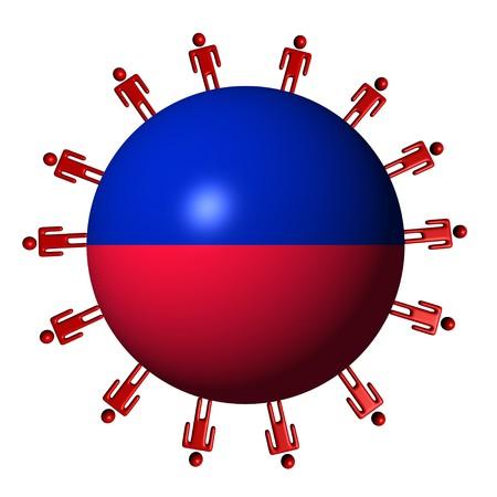 haitian: circle of abstract people around Haitian flag sphere illustration