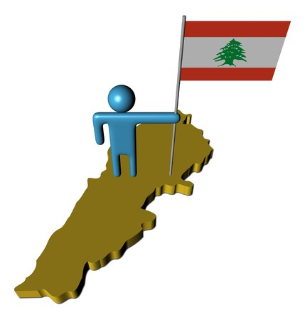 lebanese: abstract person with Lebanese flag on map illustration