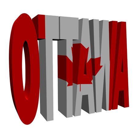 Ottawa 3d text with Canadian flag on white illustration illustration