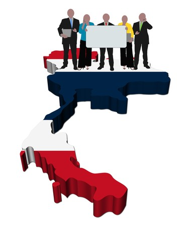 business team with sign on Thailand map flag illustration Stock Illustration - 6897961
