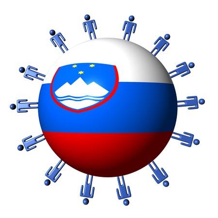 slovenian: circle of abstract people around Slovenian flag sphere illustration Stock Photo