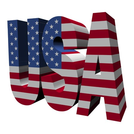 3d text: USA 3d text with American flag on white illustration