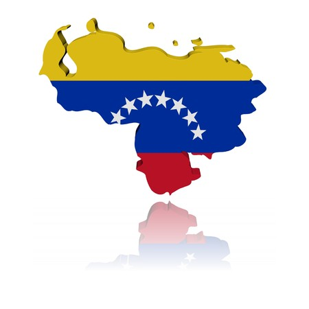 Venezuela map flag 3d render with reflection illustration illustration