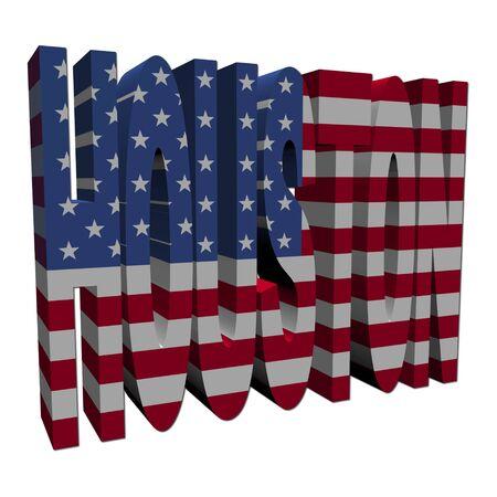 houston: Houston 3d text with American flag on white illustration