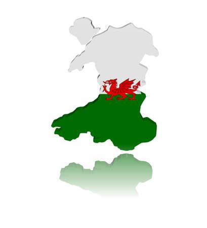 welsh flag: Wales map flag 3d render with reflection illustration