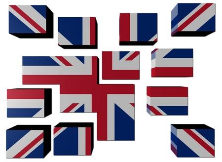 Britse vlag op de kubussen tegen Wit afbeelding