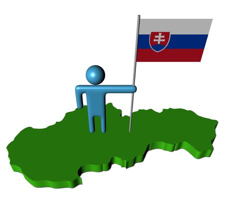 slovakian: abstract person with Slovakia flag on map illustration