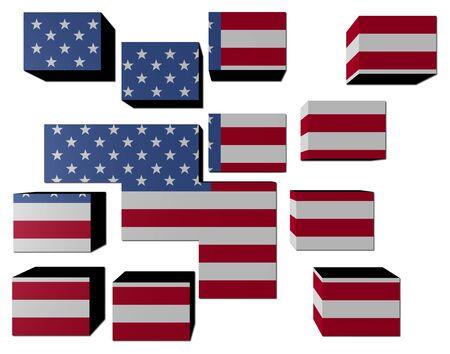 USA Flag on cubes against white illustration Stock Illustration - 6958870