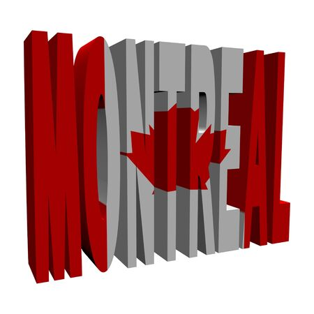 Montreal 3d text with Canadian flag on white illustration illustration