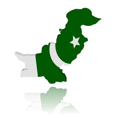 pakistani pakistan: Pakistan map flag 3d render with reflection illustration Stock Photo