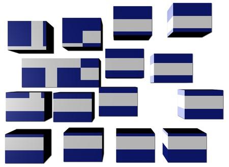 Greek Flag on cubes against white illustration Stock Illustration - 7004281