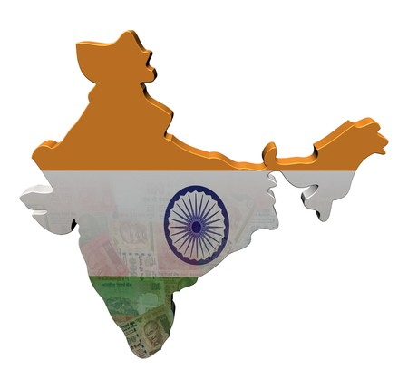India Map flag with Rupees 3d render illustration illustration