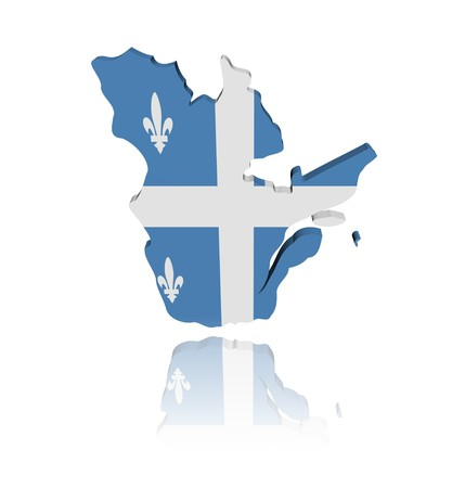 quebec: Quebec map flag 3d render with reflection illustration Stock Photo