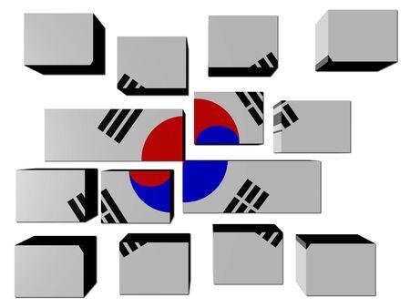 South Korea Flag on cubes against white illustration Stock Illustration - 7016203
