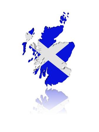 scottish flag: Bandiera di mappa di Scozia, rendering 3d con illustrazione di riflessione