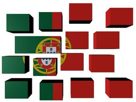 Portuguese Flag on cubes against white illustration Stock Illustration - 7032923