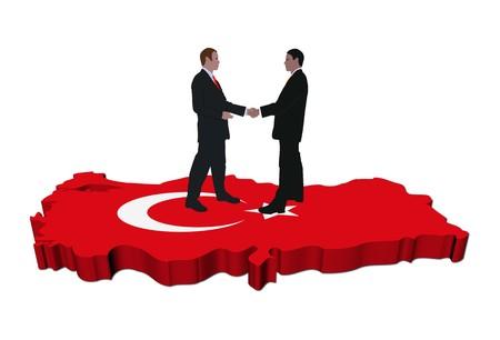 Mensen uit het bedrijfsleven schudden handen over Turkije kaart vlag illustratie Stockfoto
