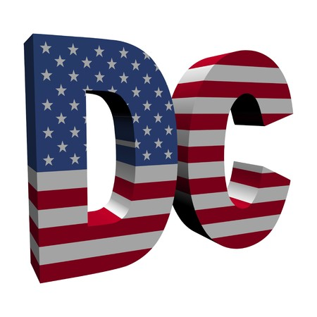dc: Washington DC 3d text with American flag on white illustration
