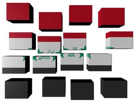 Iraq Flag on cubes against white illustration illustration