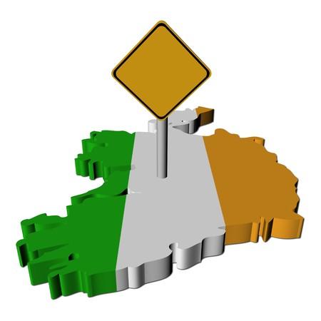 warning sign on Ireland map flag illustration