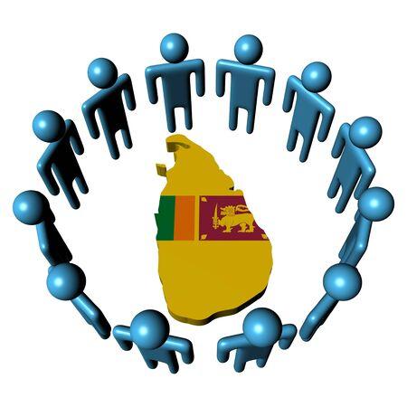Circle of abstract people around Sri Lanka map flag illustration illustration