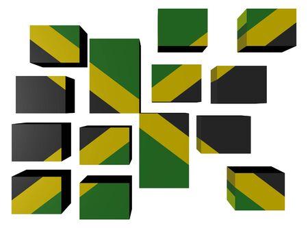 Jamaica Flag on cubes against white illustration Stock Illustration - 7047467