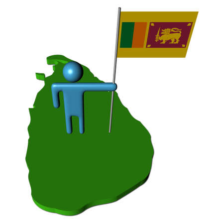 abstract person with flag on Sri Lanka map illustration illustration
