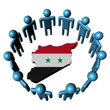 Circle of abstract people around Syria map flag illustration illustration