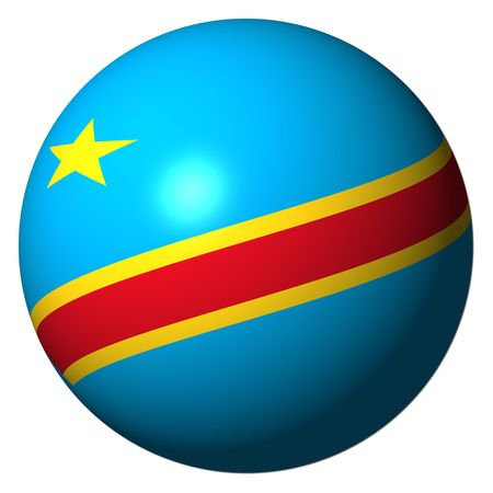 Democratic Republic of Congo flag sphere isolated on white illustration Stock Photo