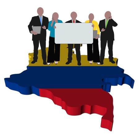 business team with sign on Colombia map flag illustration illustration