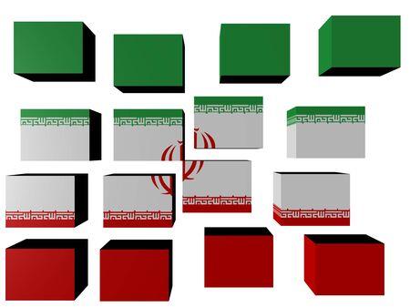 Iran Flag on cubes against white illustration Stock Illustration - 7077751