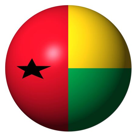 bissau: Guinea Bissau flag sphere isolated on white illustration Stock Photo