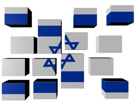 Israel Flag on cubes against white illustration Stock Illustration - 7107115