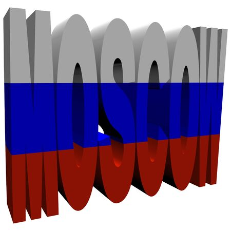 Moscow 3d text with Russian flag on white illustration illustration