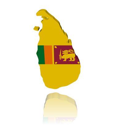 lanka: Sri Lanka map flag 3d render with reflection illustration