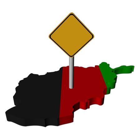afghan: warning sign on Afghan map flag illustration Stock Photo