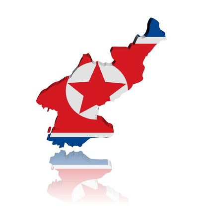 North Korea map flag 3d render with reflection illustration illustration