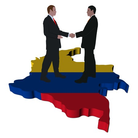 Business people shaking hands on Colombia map flag illustration illustration