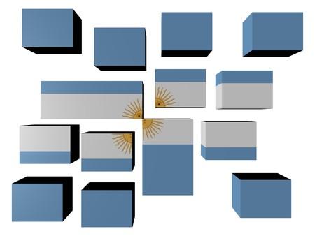 Argentina Flag on cubes against white illustration Stock Illustration - 7122249