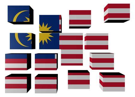 Malaysia Flag on cubes against white illustration illustration