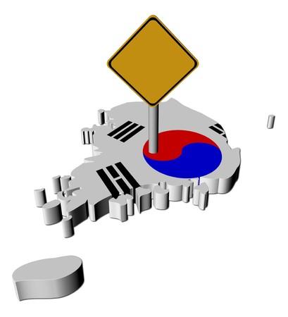 warning sign on South Korea map flag illustration