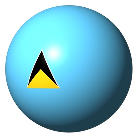 st lucia: St Lucia flag sphere isolated on white illustration Stock Photo