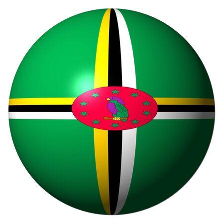 dominica: Dominica flag sphere illustration Stock Photo