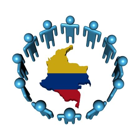 colombian: Circle of abstract people around Colombia map flag illustration Stock Photo